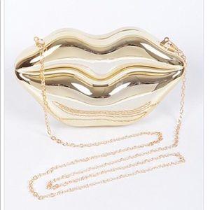 Gold lips clutch/handbag/purse